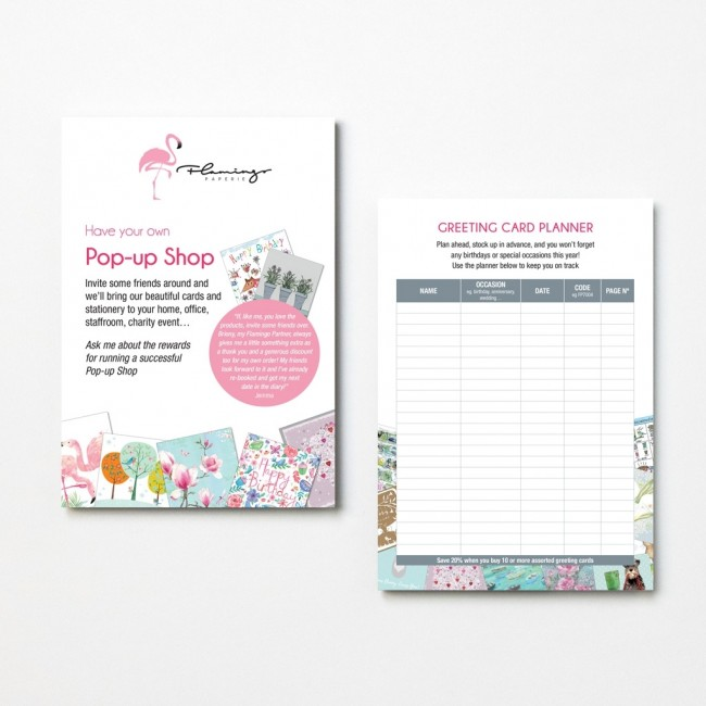 Business tools flamingo pop up shop leaflet reheart Gallery