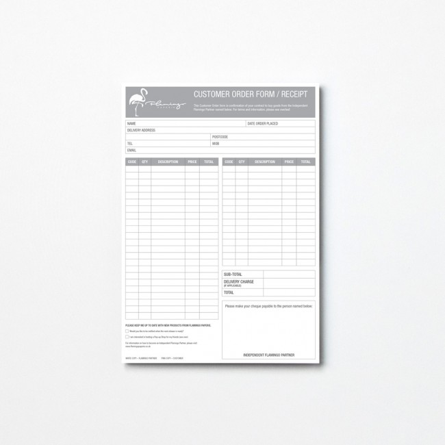 A5 Customer Order Form